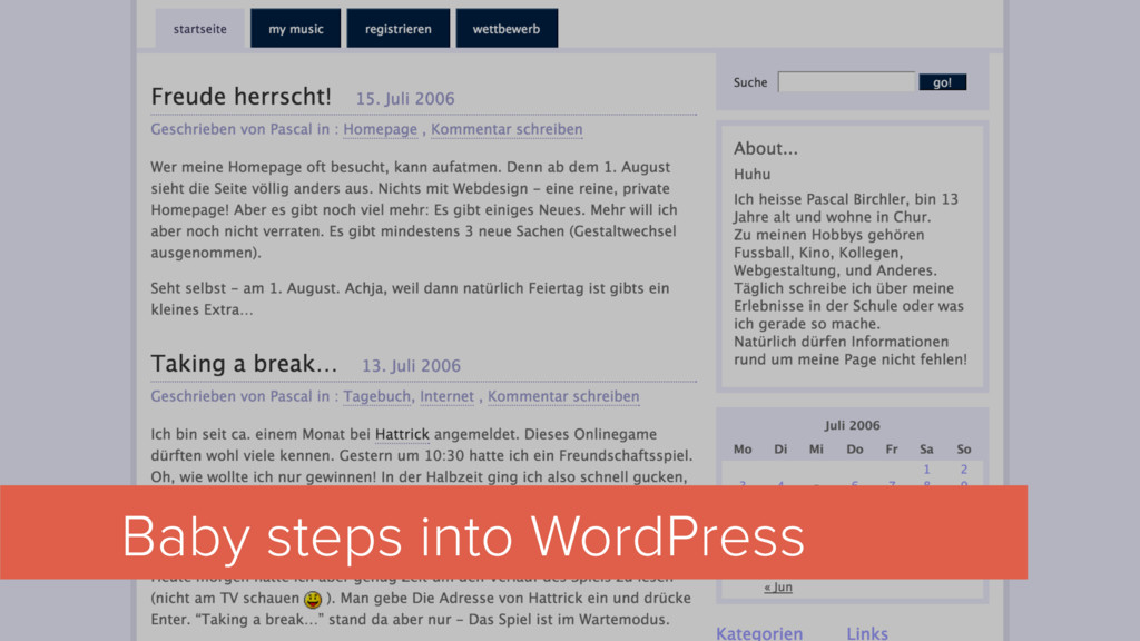 Baby steps into WordPress