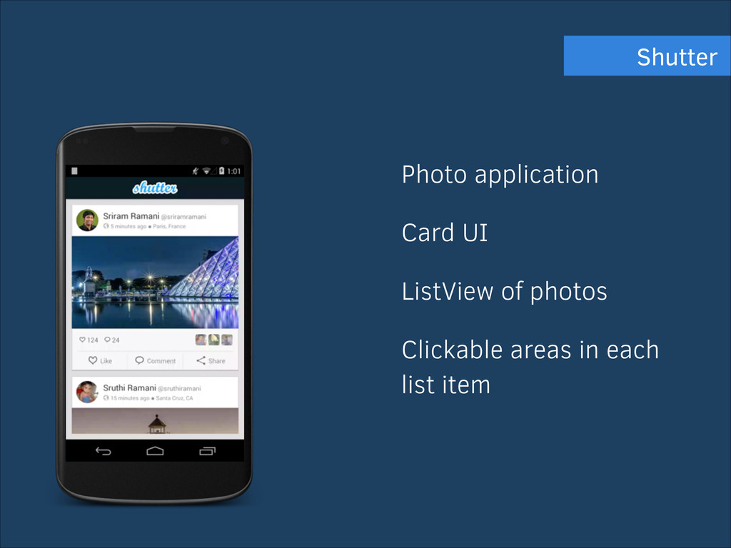 Photo application Card UI ListView of photos Cl...