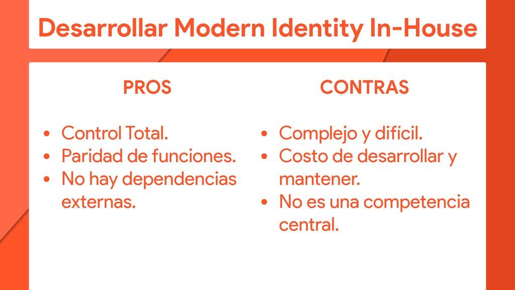 Desarrollar Modern Identity In-House PROS • Con...