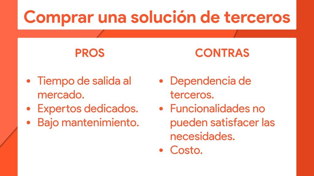 Comprar una solución de terceros PROS • Tiempo ...