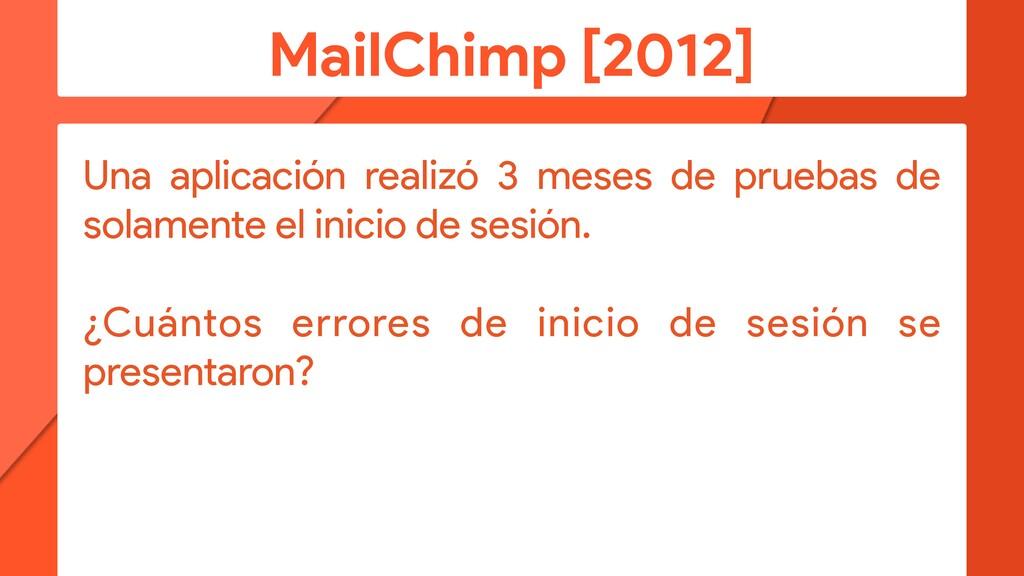 MailChimp [2012] Una aplicación realizó 3 meses...