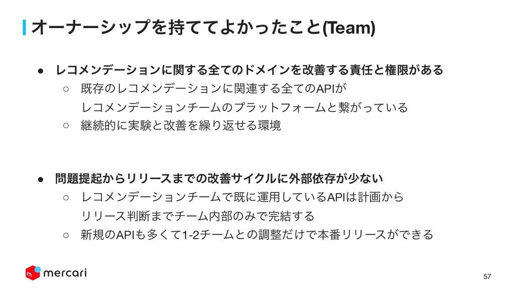 57 ΦʔφʔγοϓΛͯͯΑ͔ͬͨ͜ͱ(Team) ! Ϩίϝϯσʔγϣϯʹؔ͢Δશͯͷυϝ...
