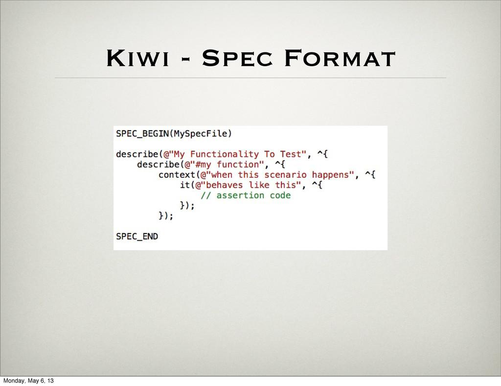 Kiwi - Spec Format Monday, May 6, 13