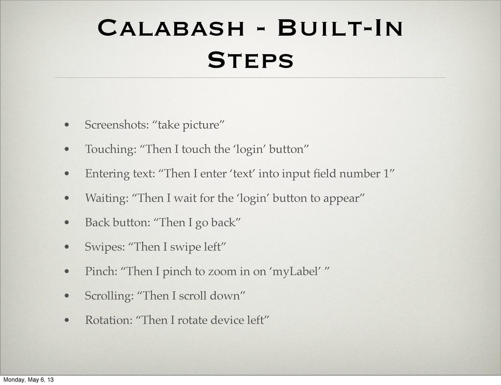 "Calabash - Built-In Steps • Screenshots: ""take ..."