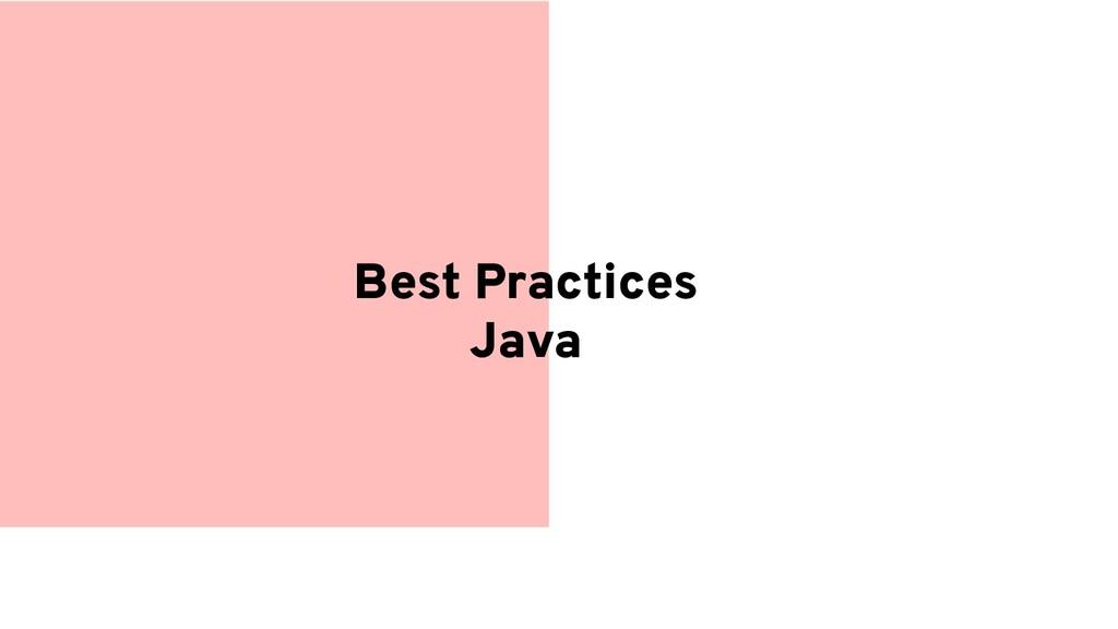 Best Practices Java