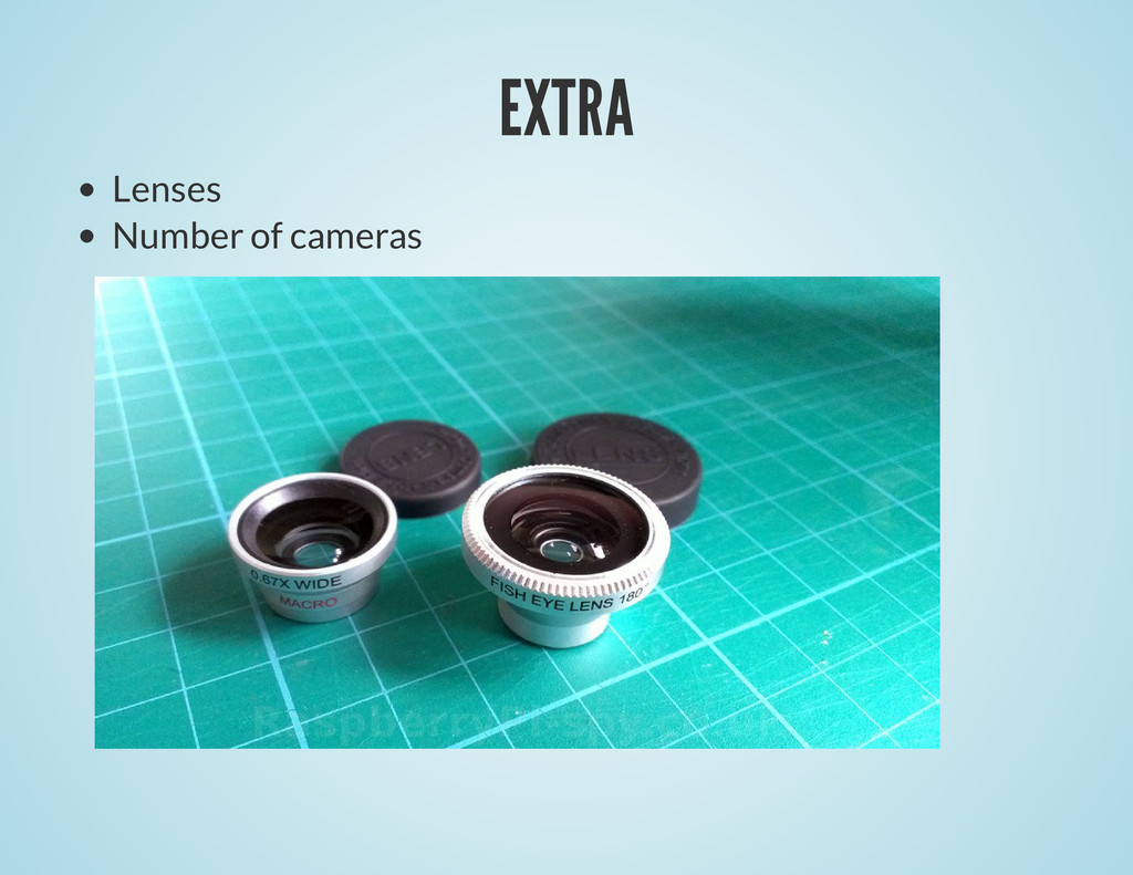 EXTRA Lenses Number of cameras