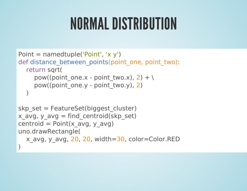 NORMAL DISTRIBUTION Point = namedtuple('Point',...