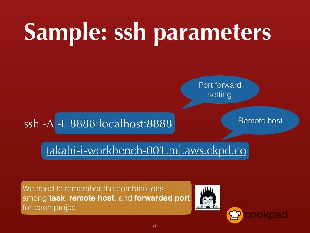 Sample: ssh parameters ssh -A -L 8888:localhost...