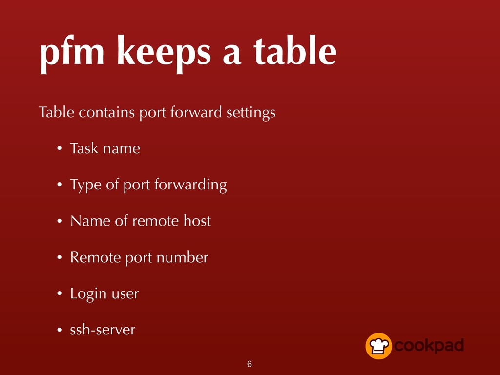 pfm keeps a table Table contains port forward s...