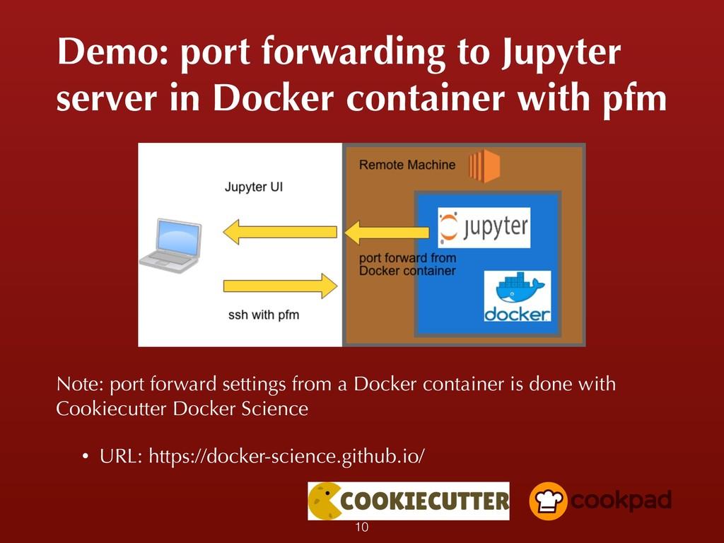 Demo: port forwarding to Jupyter server in Dock...