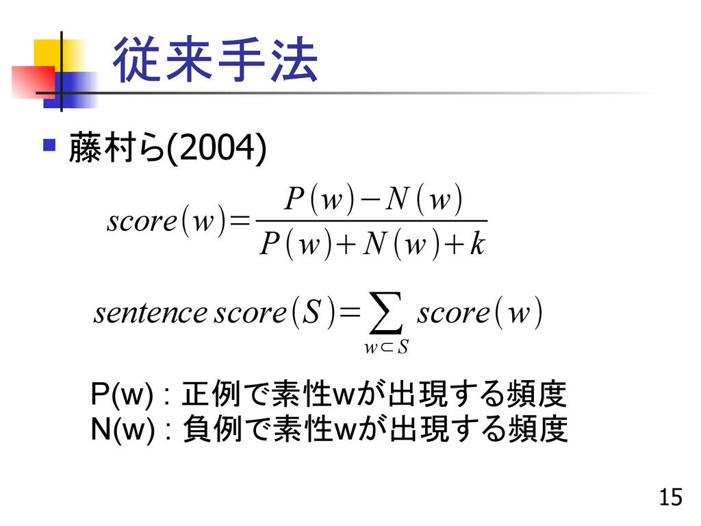 15 従来手法  藤村ら(2004) scorew= Pw−N w PwN...