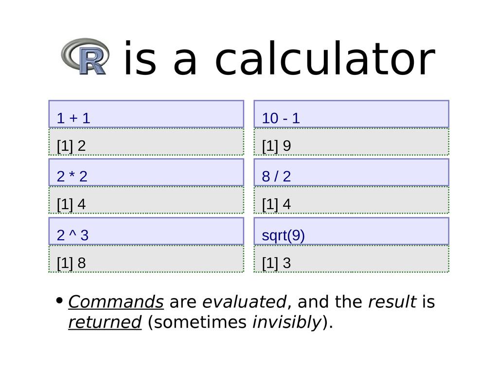[1] 2 1 + 1 R is a calculator 2 * 2 [1] 4 2 ^ 3...