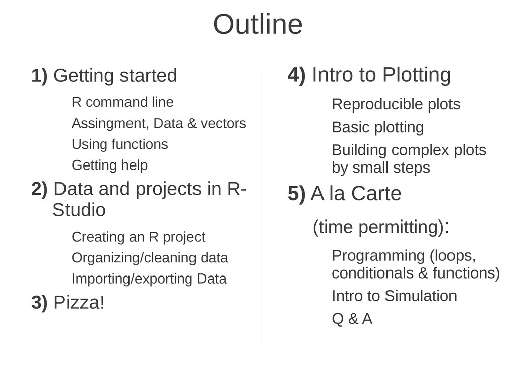Outline 1) Getting started R command line Assin...