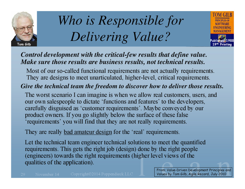 l e a n Who is Responsible for Delivering Value...