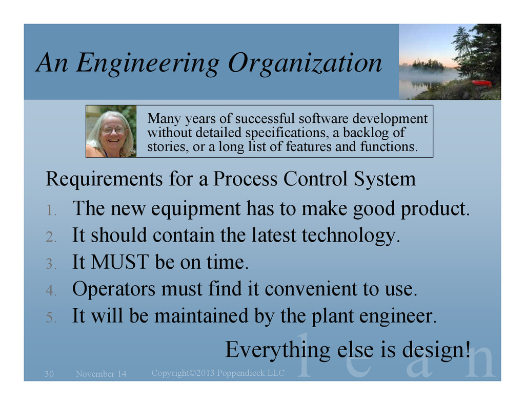 l e a n An Engineering Organization Many years ...