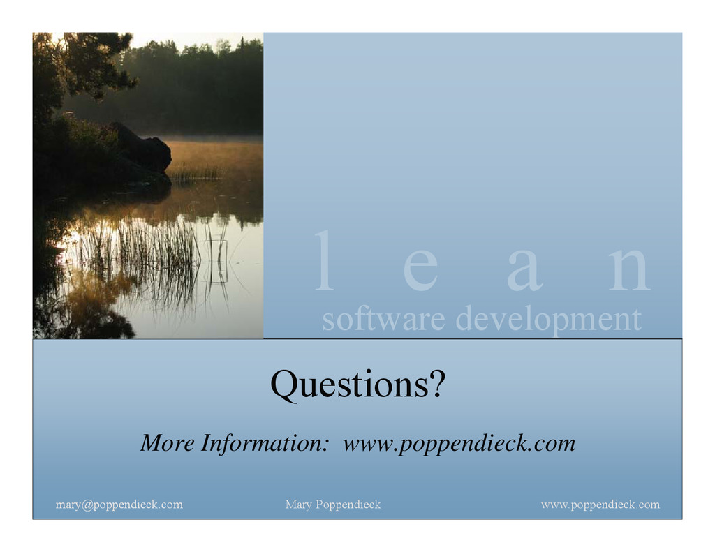 l e a n software development www.poppendieck.co...