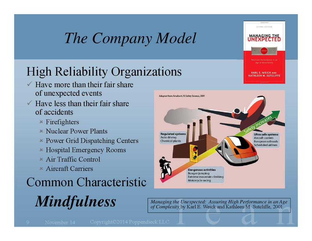 l e a n The Company Model High Reliability Orga...