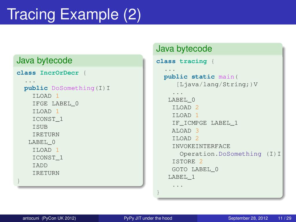 Tracing Example (2) Java bytecode class IncrOrD...