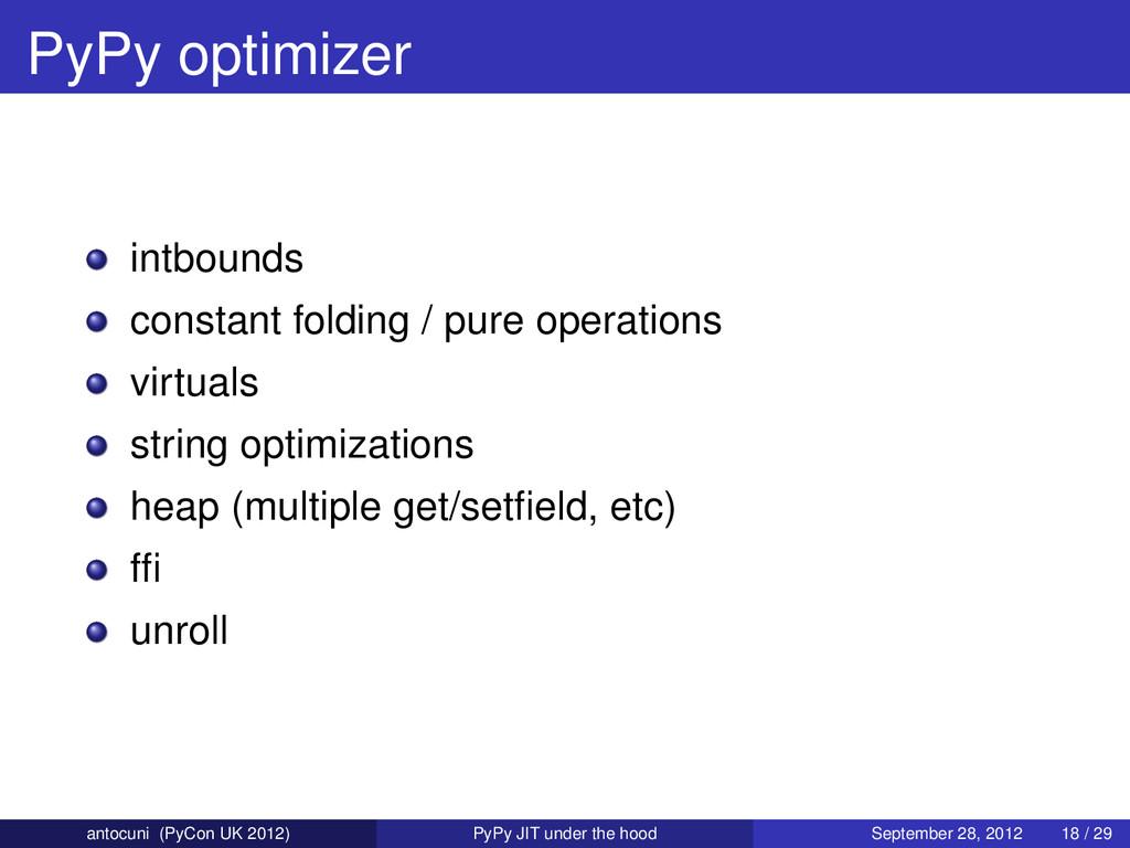 PyPy optimizer intbounds constant folding / pur...