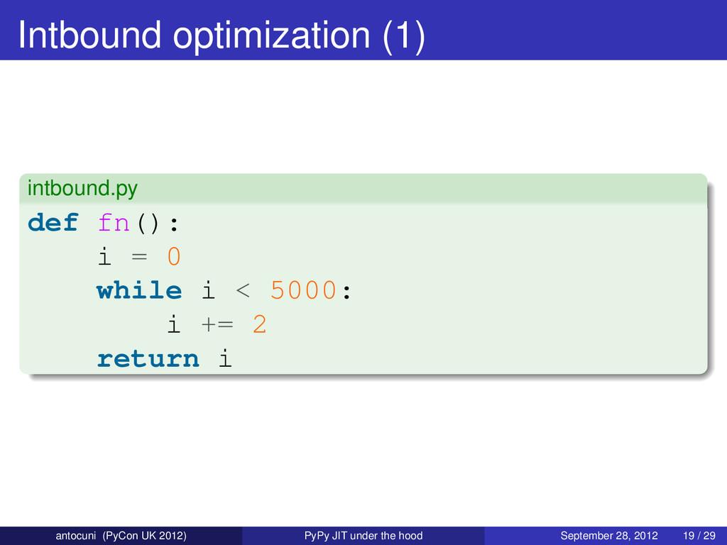 Intbound optimization (1) intbound.py def fn():...
