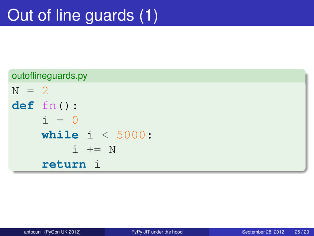 Out of line guards (1) outoflineguards.py N = 2 ...