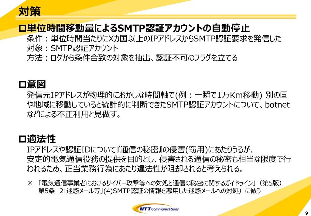 対策 単位時間移動量によるSMTP認証アカウントの自動停止 条件:単位時間当たりにXカ国以上...