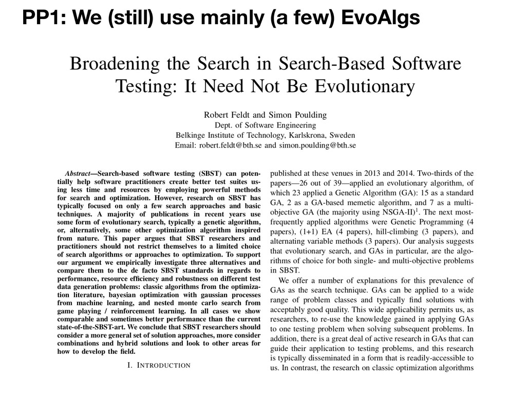 PP1: We (still) use mainly (a few) EvoAlgs
