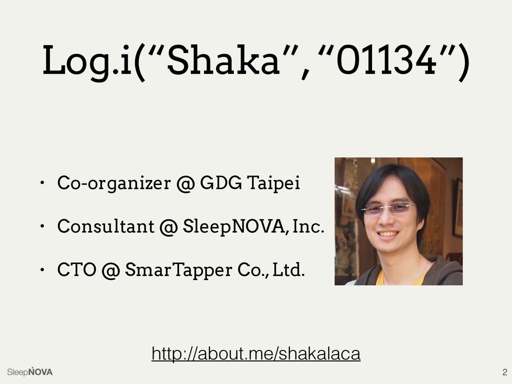 "Log.i(""Shaka"", ""01134"") • Co-organizer @ GDG Ta..."