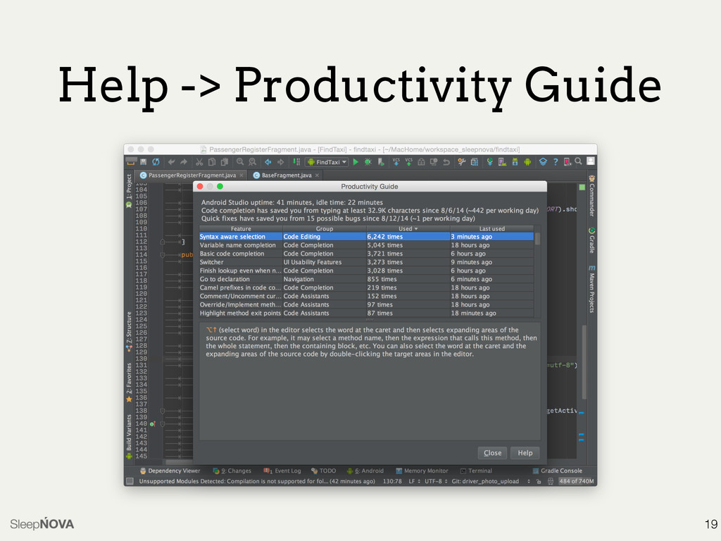 Help -> Productivity Guide 19