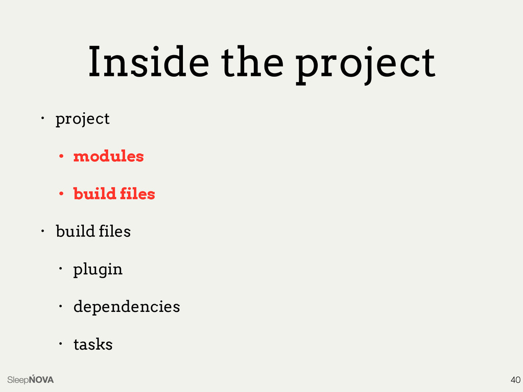 Inside the project • project • modules • build ...