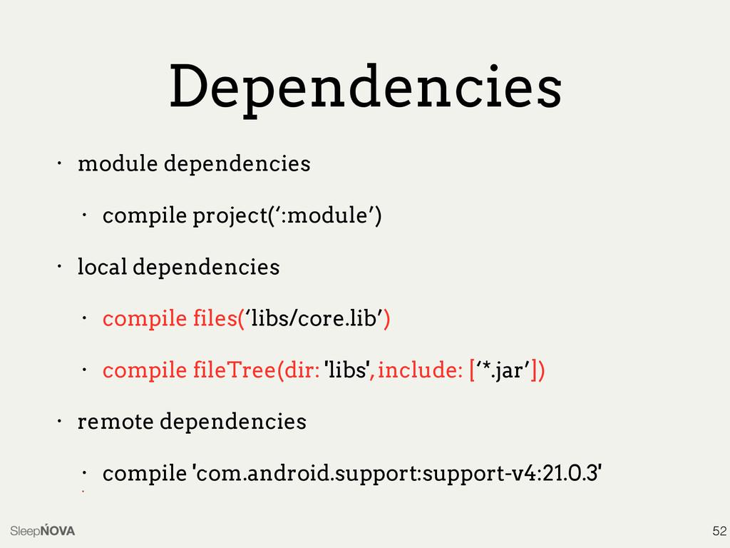 Dependencies • module dependencies • compile pr...