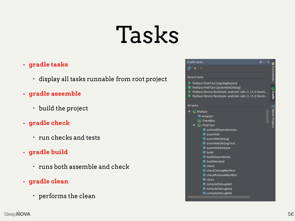Tasks • gradle tasks • display all tasks runnab...