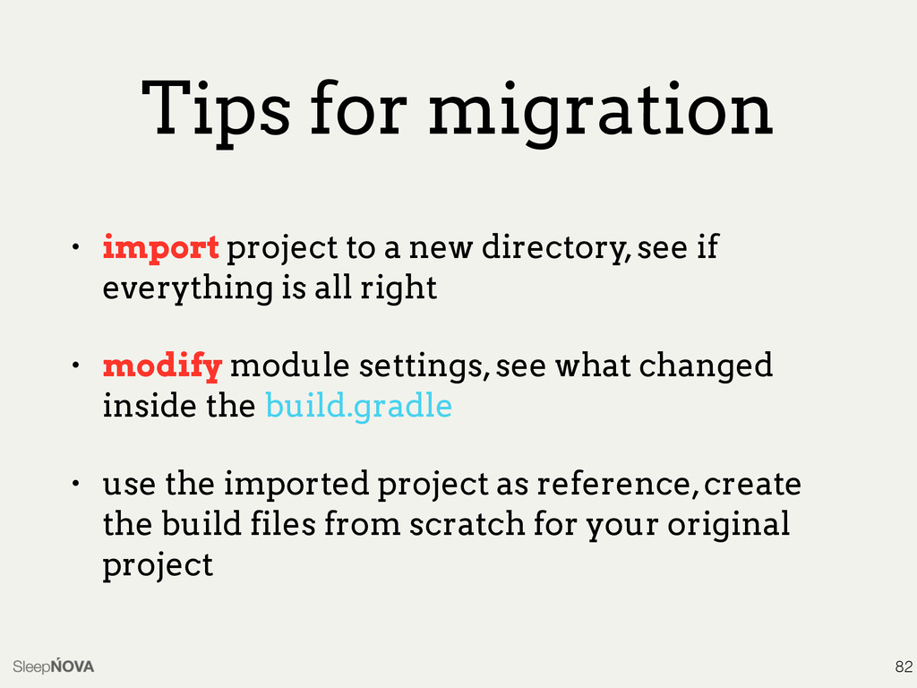 Tips for migration • import project to a new di...