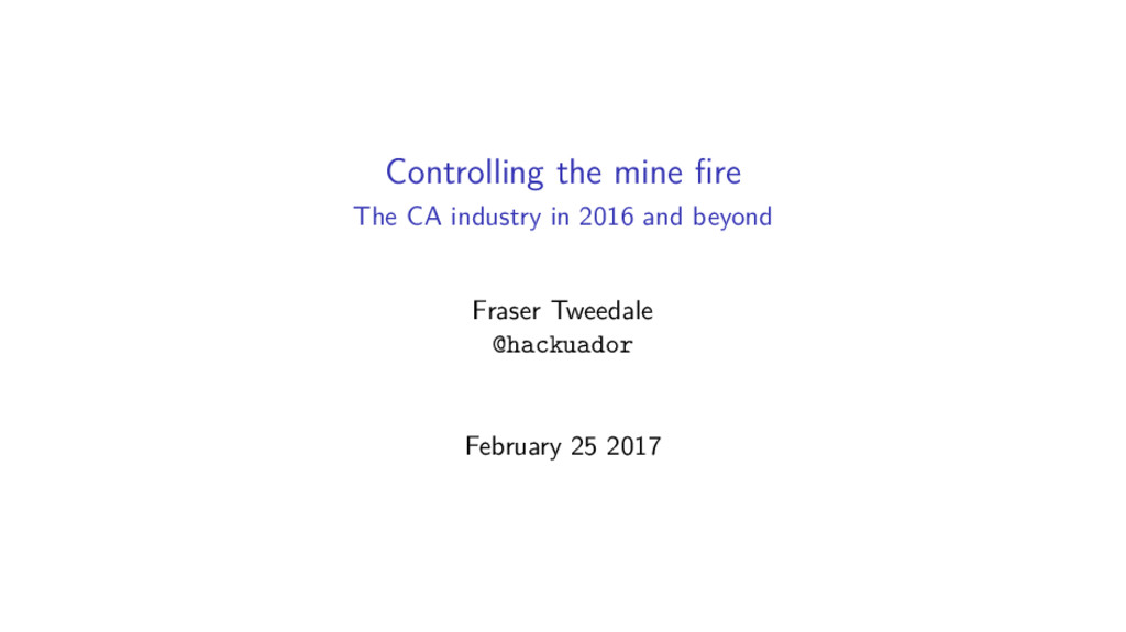 Controlling the mine fire The CA industry in 201...