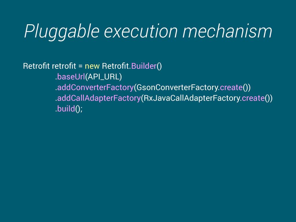 Pluggable execution mechanism Retrofit retrofit =...