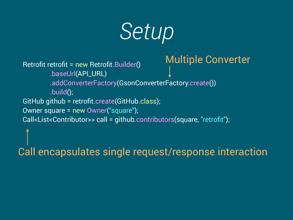 Setup Retrofit retrofit = new Retrofit.Builder() ....