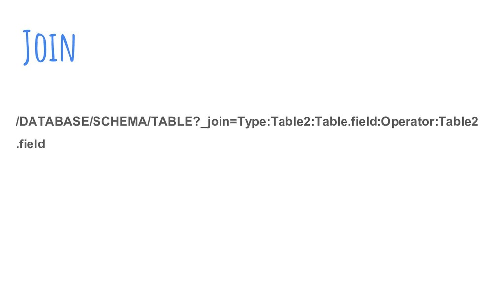 Join /DATABASE/SCHEMA/TABLE?_join=Type:Table2:T...