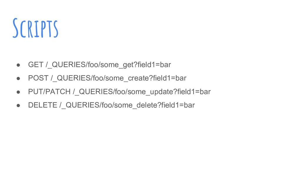 Scripts ● GET /_QUERIES/foo/some_get?field1=bar...