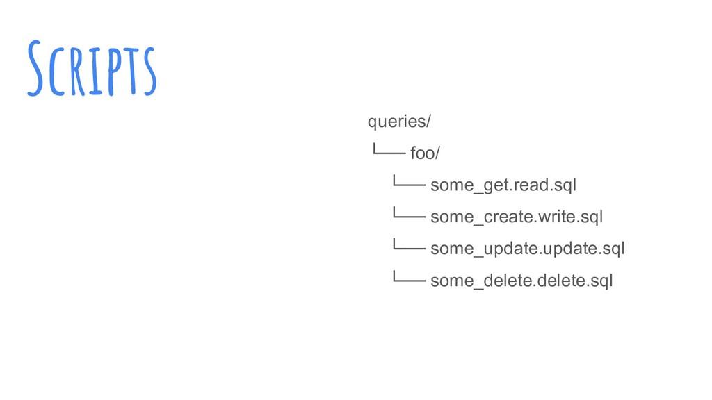 Scripts queries/ └── foo/ └── some_get.read.sql...