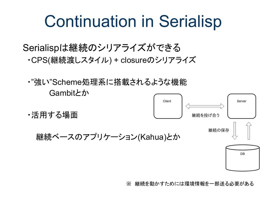 Continuation in Serialisp Serialispは継続のシリアライズがで...