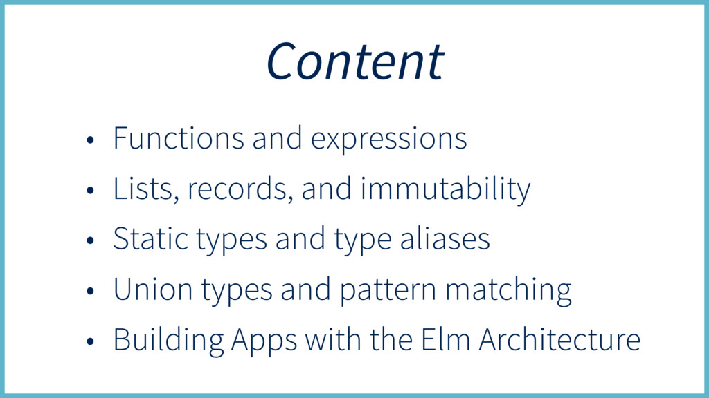 Content • Functions and expressions • Lists, re...