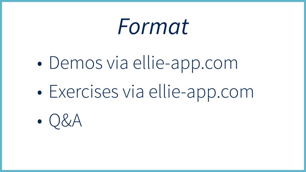 Format • Demos via ellie-app.com • Exercises vi...