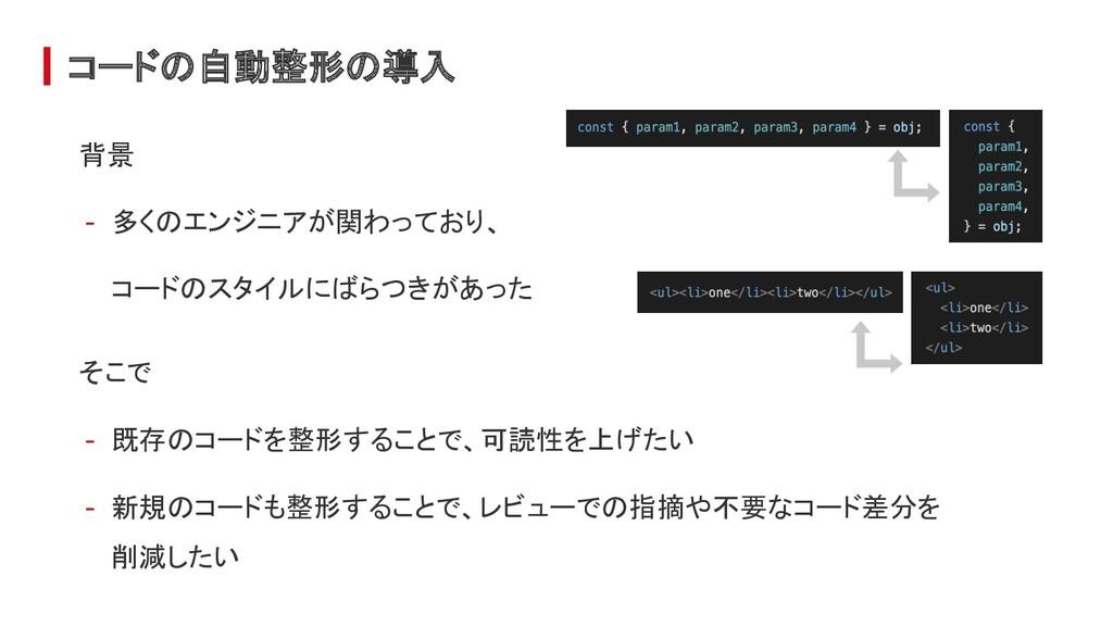 コードの自動整形の導入 背景 - 多くのエンジニアが関わっており、 コードのスタイルにばらつき...