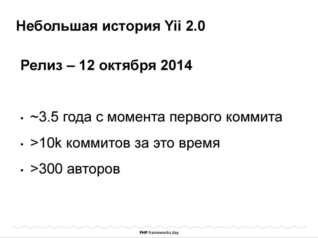 Небольшая история Yii 2.0 Релиз – 12 октября 20...