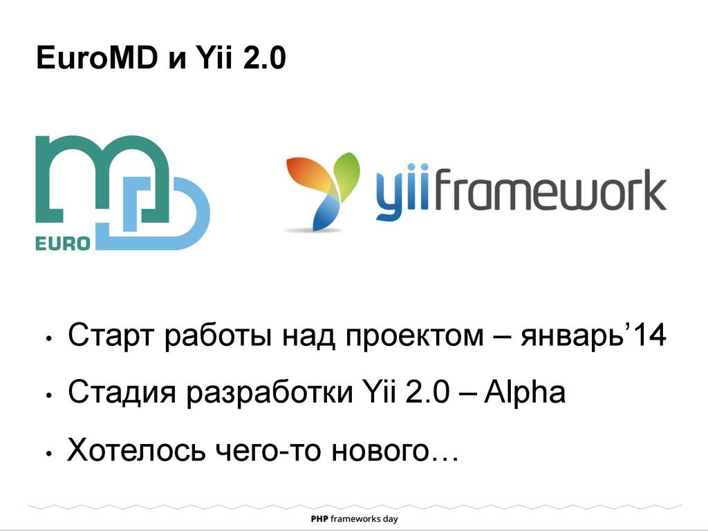 EuroMD и Yii 2.0 • Старт работы над проектом –...