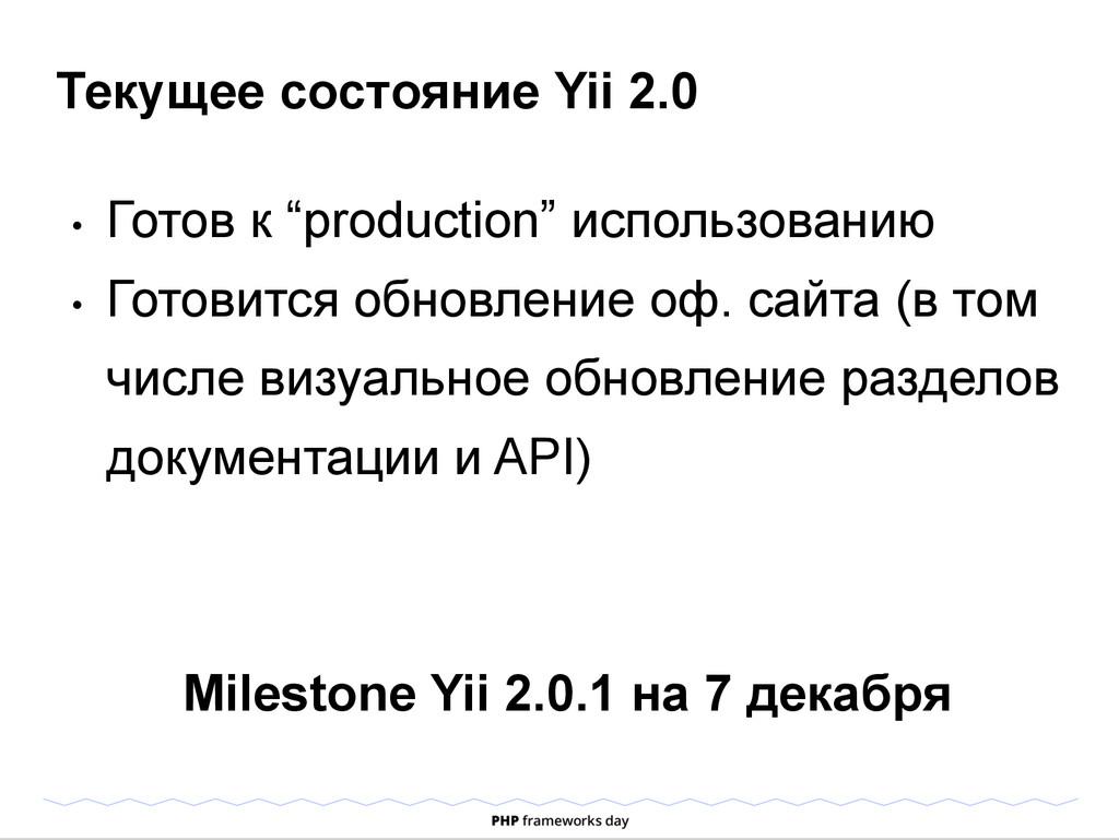 """Текущее состояние Yii 2.0 • Готов к """"productio..."""