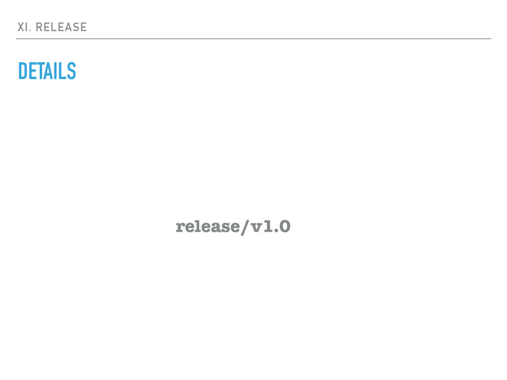 XI. RELEASE DETAILS release/v1.0