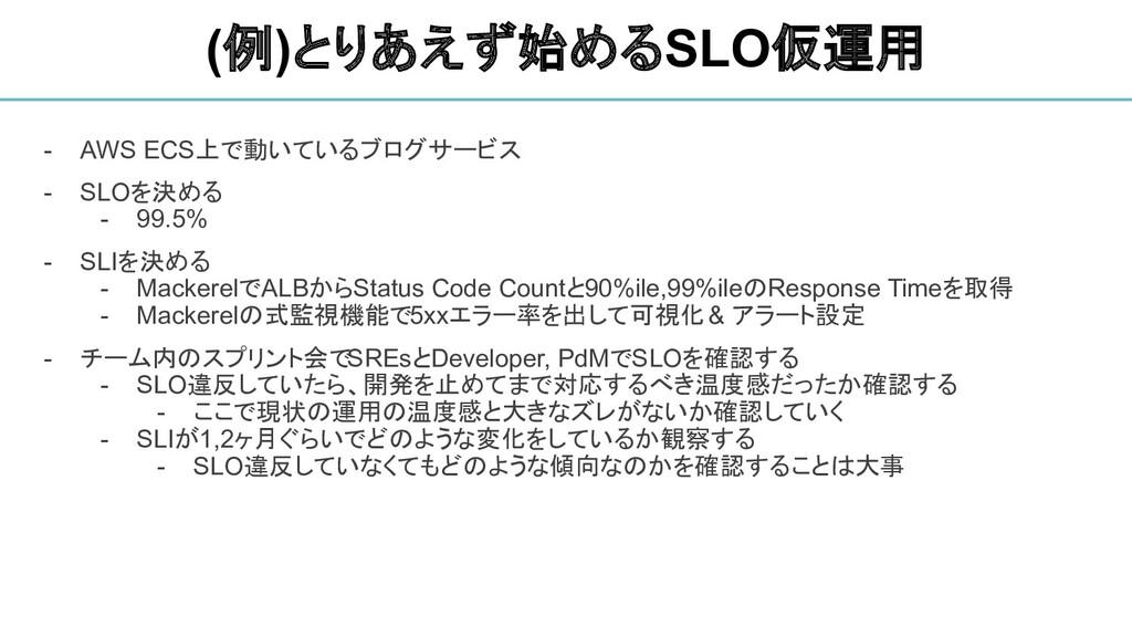 - AWS ECS上で動いているブログサービス - SLOを決める - 99.5% - SLI...
