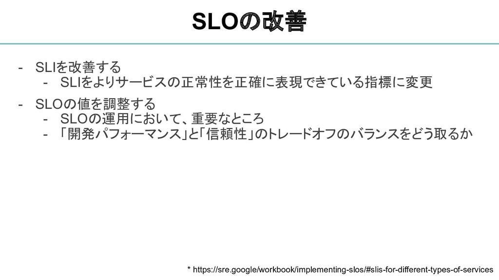 - SLIを改善する - SLIをよりサービスの正常性を正確に表現できている指標に変更 - S...
