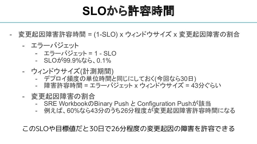 - 変更起因障害許容時間 = (1-SLO) x ウィンドウサイズ x 変更起因障害の割合 -...